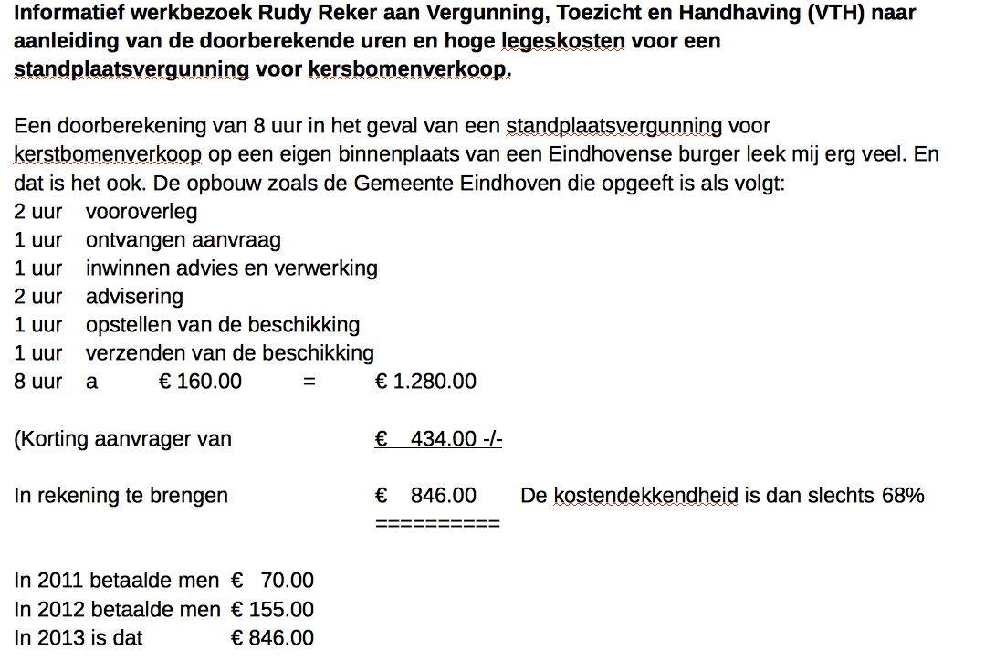 Berekening van Eindhovense legeskosten voor vergunning om kerstbomen te verkopen....