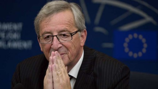 Newly elected European Commission President Jean-Claude Juncker gives a press conference on July 15, 2014 with the European Parliament head at the European Parliament in the eastern French city of Strasbourg. AFP PHOTO / FREDERICK FLORIN